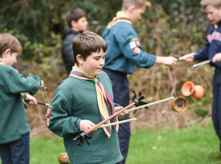 Learning-the-flower-stick-at-Scout-camp-with-TK-Arts