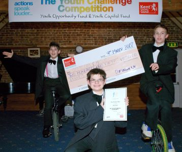 TK Arts youth challenge competition kent giant cheque